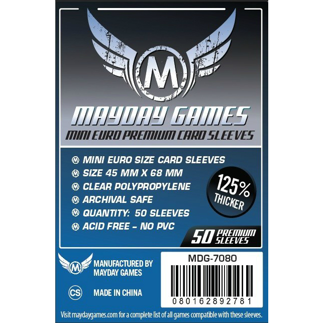 Mayday Games Mini Euro Premium Card Sleeves 45x68mm (50 Pack)