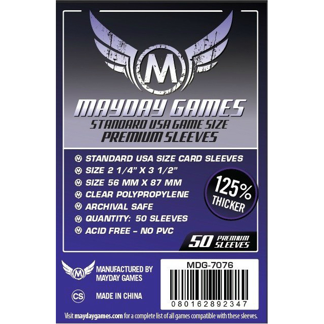 Mayday Games Standard USA Premium Sleeves 56x87mm (50 Pack)