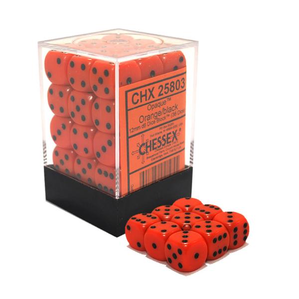 Orange with black opaque mm d dice block chessex