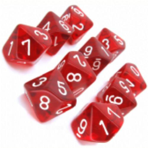 red with white translucent set of ten d10 dice chessex